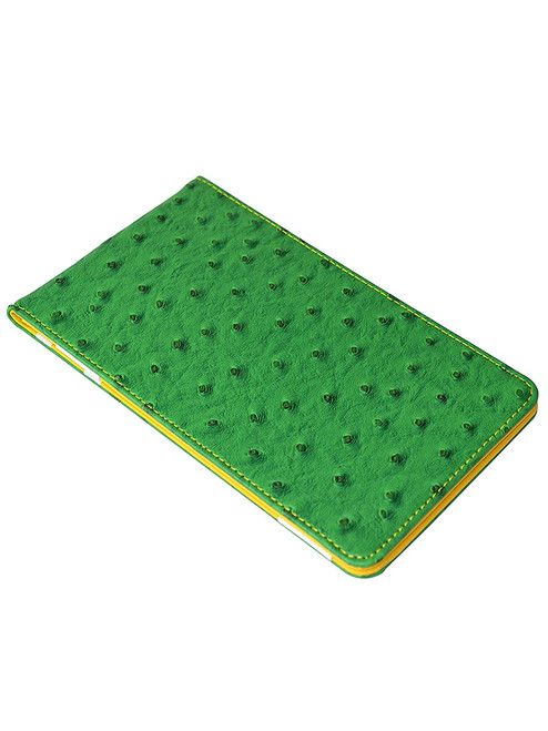 On Par Scorecard Holder Ostrich Print Green/Yellow