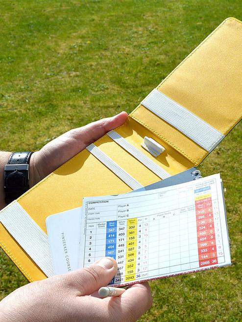 On Par Scorecard Holder Ostrich Print Green/Yellow
