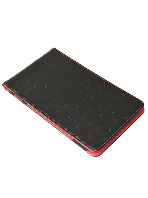 On Par Scorecard Holder Ostrich Print Black/Red