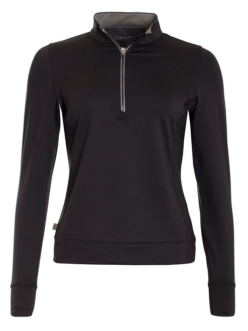 Calvin Klein Ladies 1/4 Zip Tech Top - Black