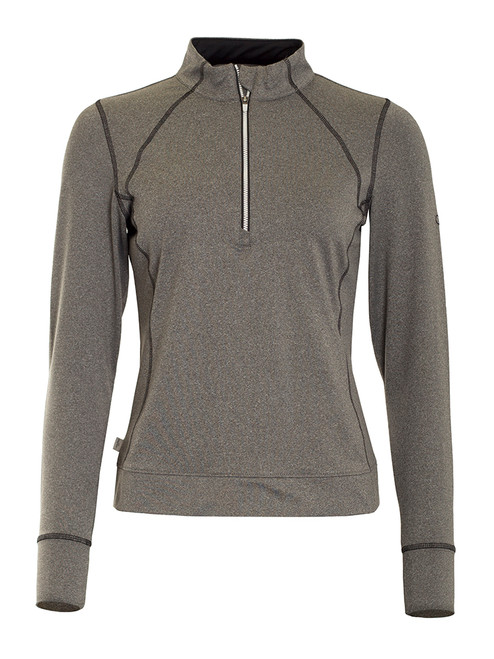 Calvin Klein Ladies 1/4 Zip Tech Top - Silver