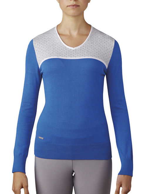 Adidas Ladies V-Neck Sweater - Blue