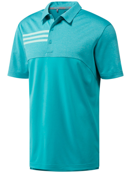 Adidas 3-Stripes Heather Blocked Polo - Hi-Res Aqua