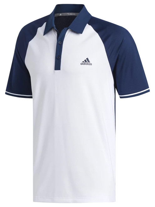 Adidas Climacool Athletic Raglan Polo - White/Coll. Navy