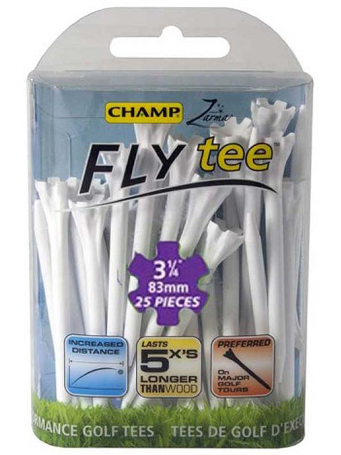 CHAMP Fly Tees 25 Pack 3.25 Inches White