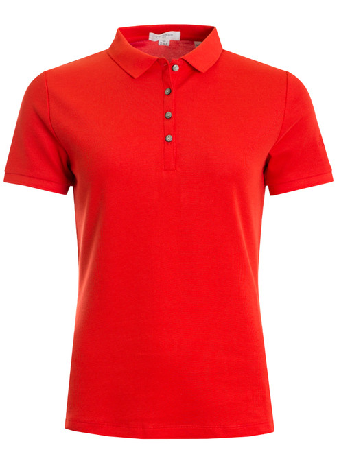 Calvin Klein Ladies Cotton Blend Polo - Reverb Red