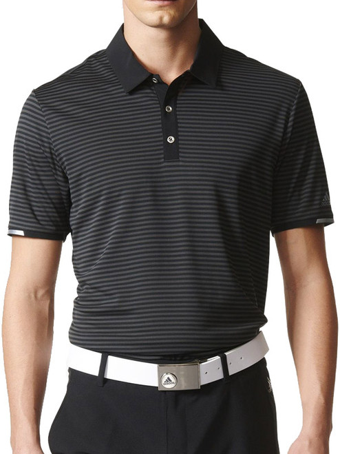 Adidas Climachill Tonal Stripe Blocked Polo - Black