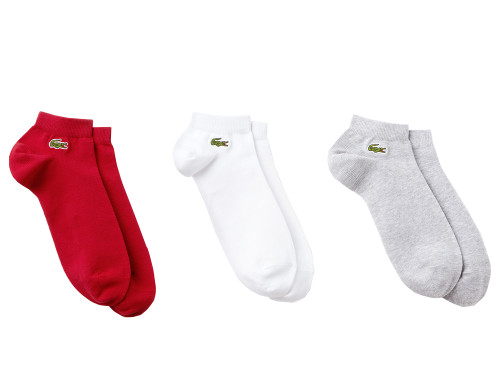 Lacoste Ankle Socks 3 Pairs - White/Silver/Red