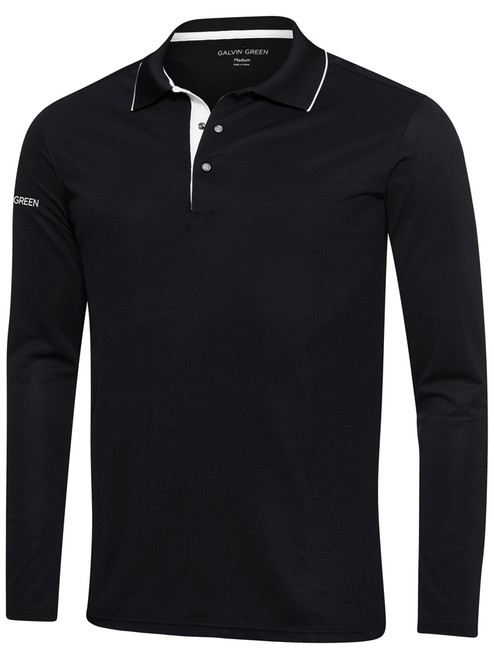 Galvin Green Marc Long Sleeve Polo - Black/White