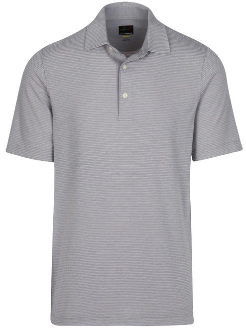 Greg Norman Heathered Stripe Polo - Stirling Heather