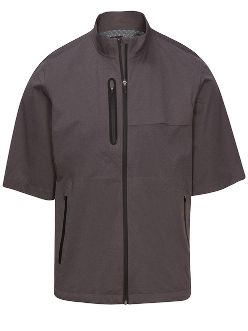 Greg Norman SS Full Zip Heathered Weatherknit Jacket - Black