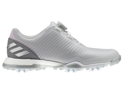 Adidas W Adipower 4orged BOA Golf Shoes - Grey Two/True Pink