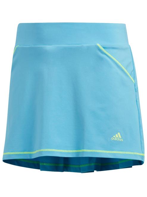 Adidas JR Girls Solid Back Pleat Skort - Bright Cyan