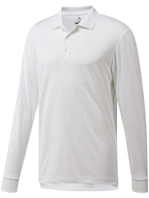 Adidas Essentials Long Sleeve Polo - White