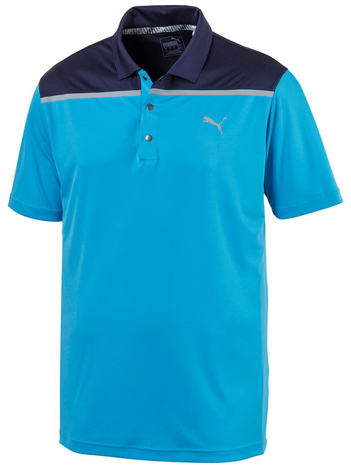 Puma Bonded Colour Block Polo - Blue Azur