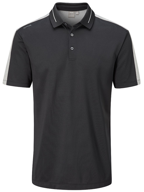 Ping Douglas Tailored Fit Polo - Black/Silver Marl
