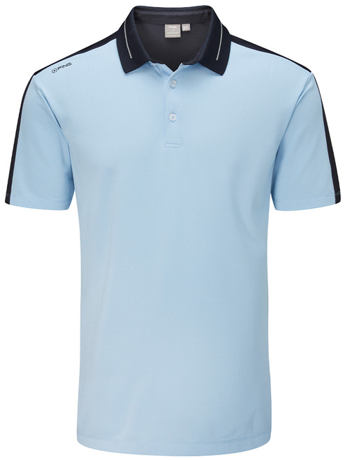 Ping Douglas Tailored Fit Polo - Sky Azure/Navy