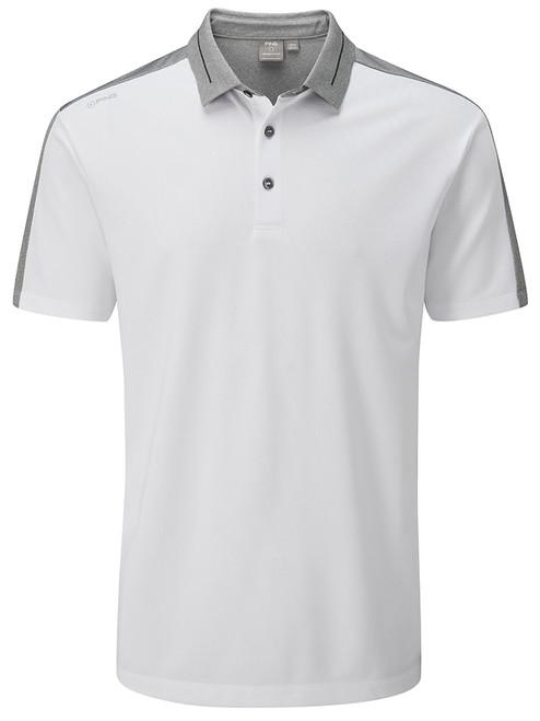 Ping Douglas Tailored Fit Polo - White/Silver Marl