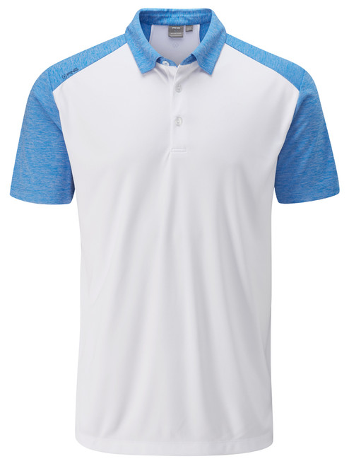 Ping Sonoran Tailored Fit Polo - White/Sky Azure Marl