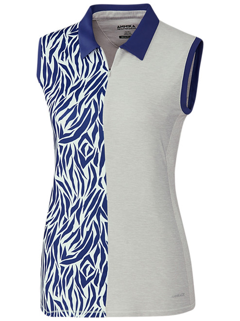 Annika W Print Mix Sleeveless Polo - Crystal Heather
