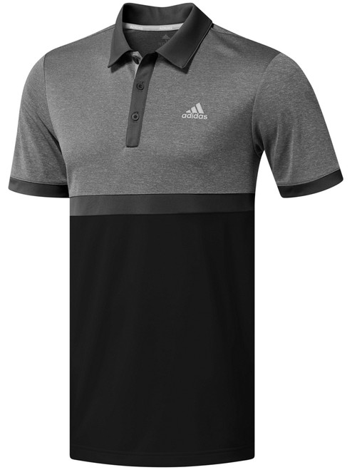 Adidas Heather Colour Block Polo - Grey Three Htr/Black