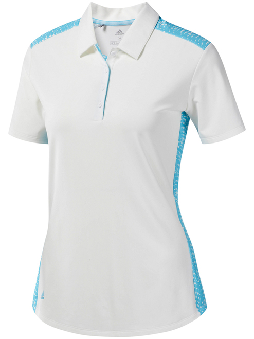 Adidas W Ultimate365 Novelty Polo - White/Bright Cyan