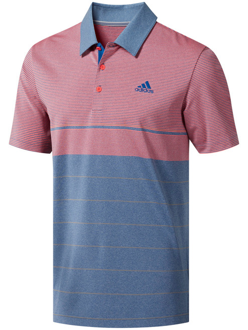 Adidas Ultimate365 Heather Stripe Polo - Dark Marine/Grey 3