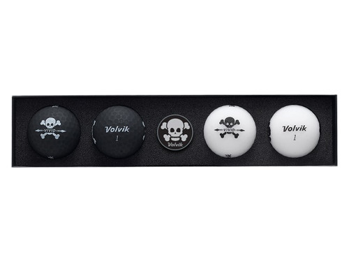 Volvik Vivid Skull Edition Golf Balls - 4 Pack Black/White
