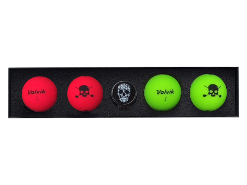 Volvik Vivid Skull Edition Golf Balls - 4 Pack Red/Green