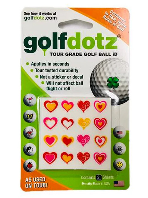 Golfdotz Love Heart Assorted - 32 Pack