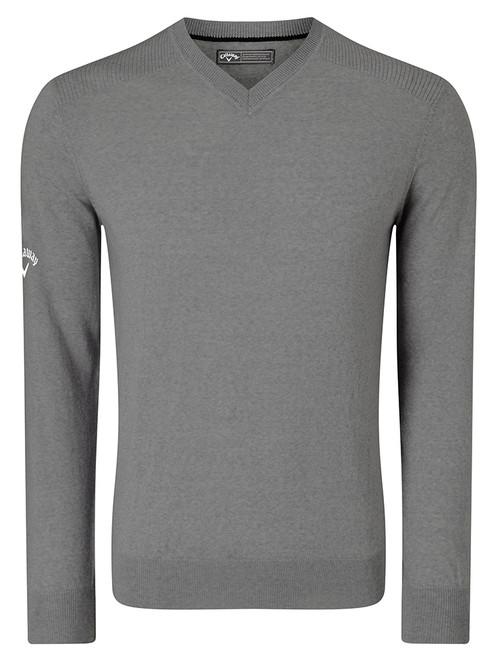 Callaway V-Neck Blended Merino Sweater - Steel Heather
