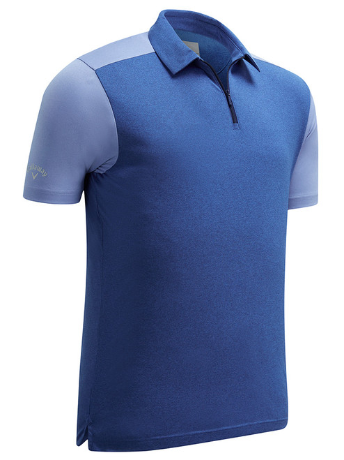 Callaway 1/4 Zip Block Polo - Medieval Blue Heather