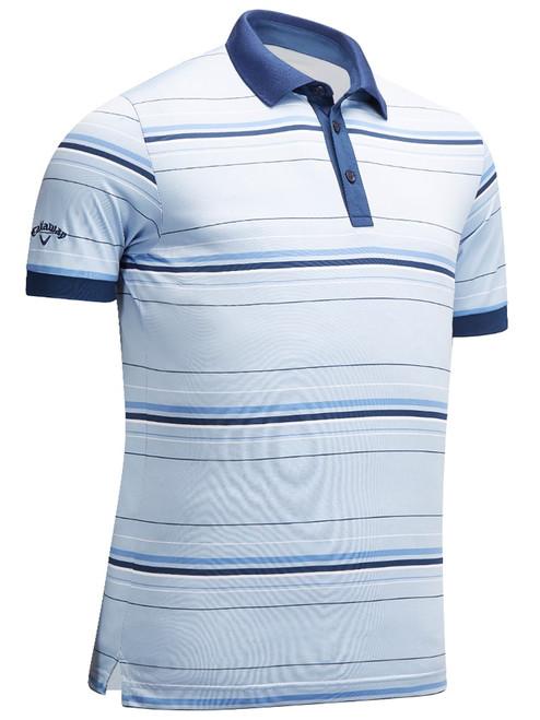Callaway 3 Colour Stripe Polo - Brunnera Blue