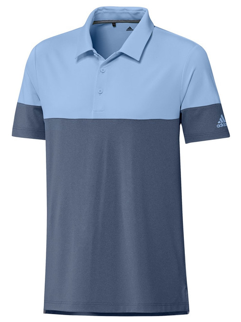 Adidas Ultimate365 Heather Blocked Polo - Tech Ink/Glow Blue