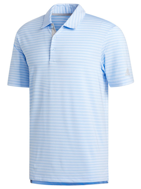 Adidas Ultimate365 2-Stripe Polo - Glow Blue/White