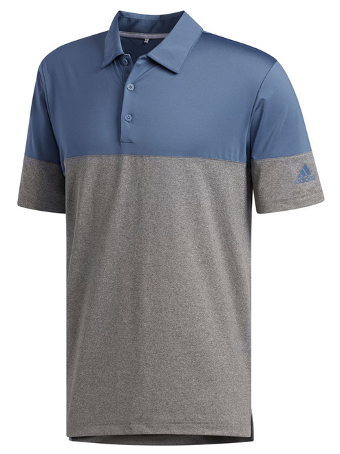 Adidas Ultimate365 Heather Blocked Polo - Grey 3/Tech Ink