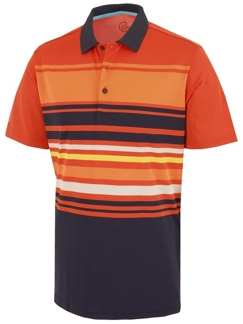 Galvin Green Miguel Polo - Rusty Orange/Navy/Flame/Sharkskin
