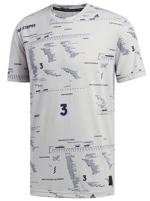 Adidas Adicross Allover Graphic T-Shirt - Grey Two F17
