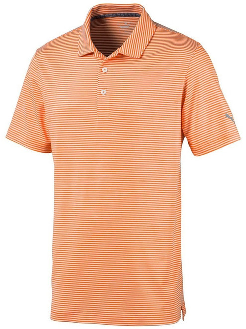 Puma Caddie Stripe Polo - Vibrant Orange Heather