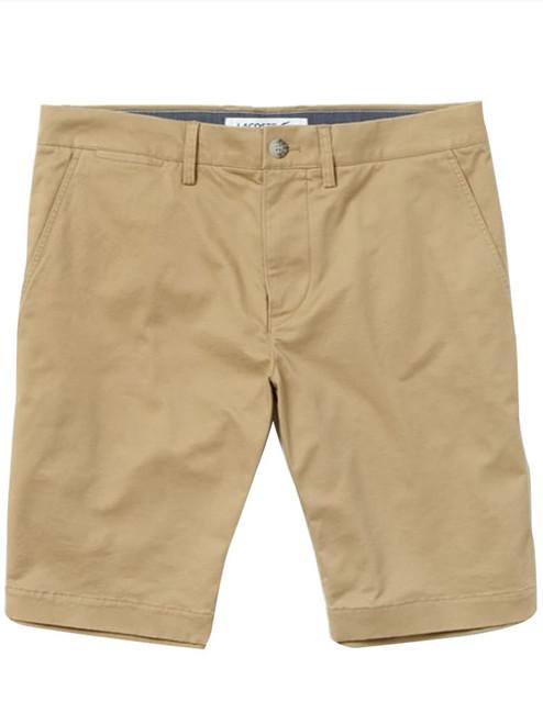 Lacoste Slim Fit Stretch Gabardine Bermuda Shorts - Beige