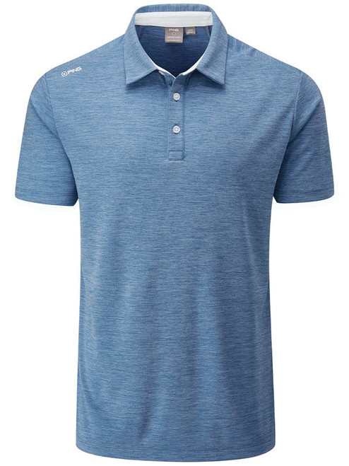 Ping Harrison Heather Tailored Fit Polo - Vista Blue Marl