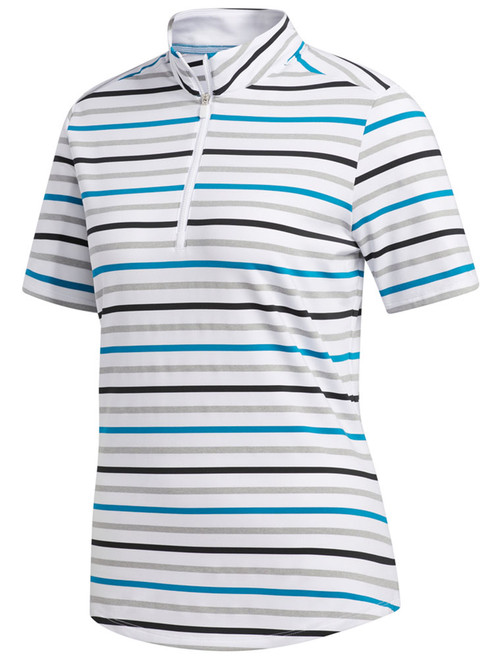 Adidas W Ultimate Stripe Polo - White/Active Teal