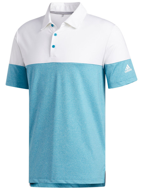 Adidas Ultimate365 Heather Blocked Polo - Active Teal/White