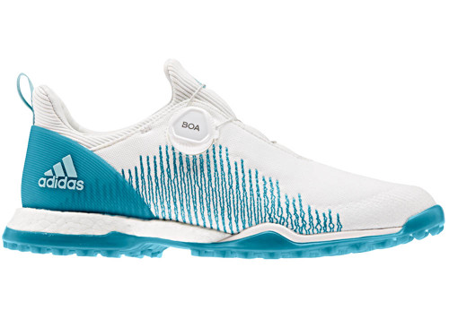 Adidas W Forgefiber BOA Golf Shoes - FTWR White/Active Teal