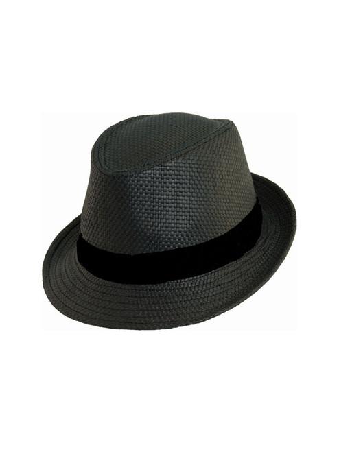 Avenel Classic Woven Trilby Hat - Black