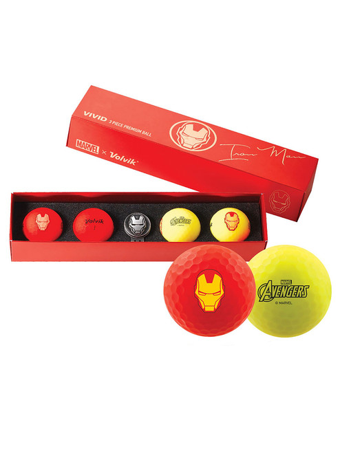 Volvik Marvel Golf Balls & Marker - 4 Pack Iron Man