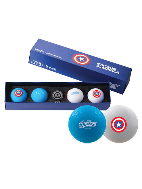 Volvik Marvel Golf Balls & Marker - 4 Pack Captain America