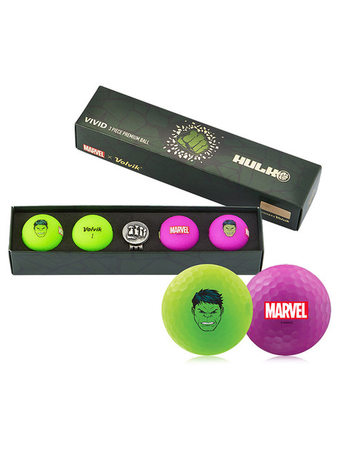 Volvik Marvel Golf Balls & Marker - 4 Pack The Hulk