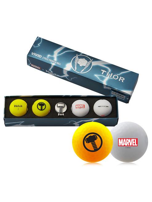 Volvik Marvel Golf Balls & Marker - 4 Pack Thor