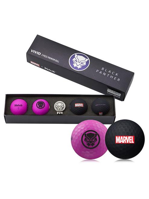 Volvik Marvel Golf Balls & Marker - 4 Pack Black Panther